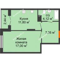 1 комнатная квартира 42,72 м² в ЖК Рассвет, дом № 9 - планировка