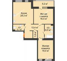 2 комнатная квартира 87,7 м² в ЖК Славутич, дом ГП-1 - планировка