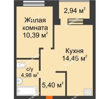 2 комнатная квартира 36,7 м² в ЖК Квартал на Московском, дом Альфа - планировка