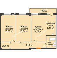 2 комнатная квартира 74,92 м², ЖК Студенческий - планировка