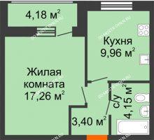 1 комнатная квартира 38,95 м² в ЖК Подкова на Гагарина, дом № 2 - планировка