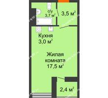 Студия 28,9 м² в ЖК Дружный 2, дом Литер 3.3 - планировка