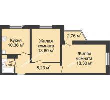 2 комнатная квартира 54,3 м² в ЖК Корабли, дом № 6 - планировка