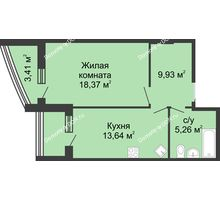 1 комнатная квартира 50,34 м², ЖК Адмирал - планировка
