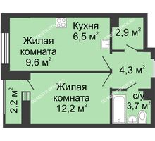 1 комнатная квартира 40,3 м² в ЖК Октава, дом №2 - планировка