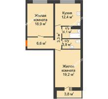 2 комнатная квартира 72 м², ЖК Дом на Горького - планировка