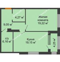 1 комнатная квартира 59,97 м², ЖК Гран-При - планировка