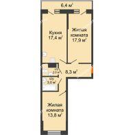 2 комнатная квартира 65,6 м² в ЖК Парк Победы, дом Литер 4 - планировка