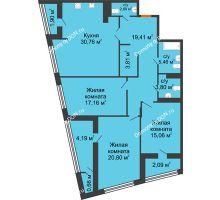 3 комнатная квартира 128,13 м² в Микрорайон Красный Аксай, дом Литер 21