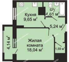 1 комнатная квартира 41,2 м², ЖК Гелиос - планировка