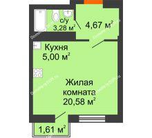 Студия 29,2 м² в ЖК Мечников, дом ул. Мечникова, 37 - планировка