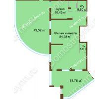 1 комнатная квартира 156,1 м² в ЖК Дом с террасами, дом № 1