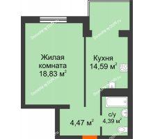 1 комнатная квартира 42,28 м², ЖК Зеленый квартал 2 - планировка