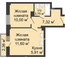 2 комнатная квартира 39,28 м² - ЖК Каскад на Волжской