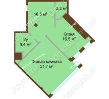 1 комнатная квартира 74,5 м², ЖК Бояр Палас - планировка