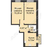 2 комнатная квартира 50,32 м² в ЖК Солнечный, дом д. 161 А/1 - планировка