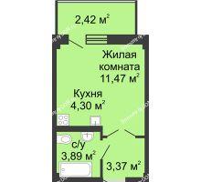 Студия 26,99 м² в ЖК Соловьиная роща, дом № 7 - планировка