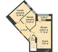 2 комнатная квартира 62,55 м² в ЖК Дом на Набережной, дом № 1 - планировка