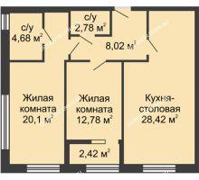 2 комнатная квартира 79,2 м² в ЖК TRINITY (Тринити), дом № 1 - планировка