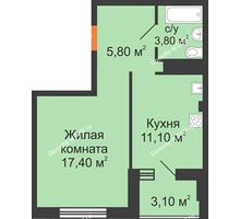 1 комнатная квартира 38,4 м², ЖК Вершина - планировка