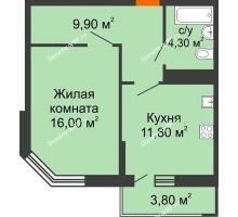 1 комнатная квартира 43,1 м² в ЖК Любимый дом, дом Литер 2 - планировка