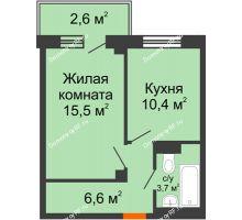 1 комнатная квартира 38 м², ЖД Подзолкова - планировка