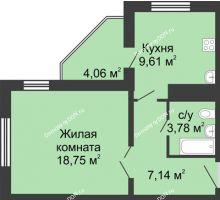 1 комнатная квартира 41,31 м² в ЖК Французский квартал, дом Корпус 6-11