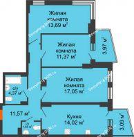 3 комнатная квартира 76,64 м² в ЖК Сердце Ростова 2, дом Литер 8 - планировка
