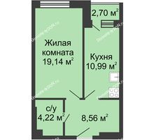 1 комнатная квартира 45,61 м², ЖК Вдохновение - планировка