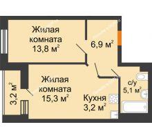 2 комнатная квартира 45,9 м² в ЖК Южный Берег, дом Литер 6 - планировка
