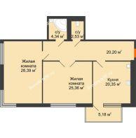 Студия 104,85 м², Жилой дом на ул. Платонова, 9,11 - планировка