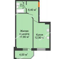 1 комнатная квартира 44,8 м² в ЖК Три Сквера (3 Сквера), дом № 31 - планировка