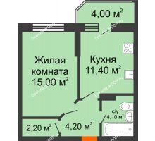 1 комнатная квартира 40,9 м² в ЖК Звездный-2, дом № 4 - планировка