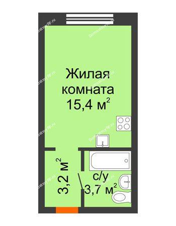 Студия 22,3 м² - ЖК Красный дом
