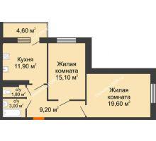 2 комнатная квартира 67,9 м² в ЖК Я, дом  Литер 2 - планировка