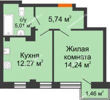 1 комнатная квартира 38,72 м², ЖК Онегин - планировка