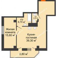 2 комнатная квартира 68 м², ЖК Sacco & Vanzetty, 82 (Сакко и Ванцетти, 82) - планировка