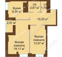 2 комнатная квартира 59,52 м² в ЖК Подкова на Панина, дом № 7, корп. 6 - планировка