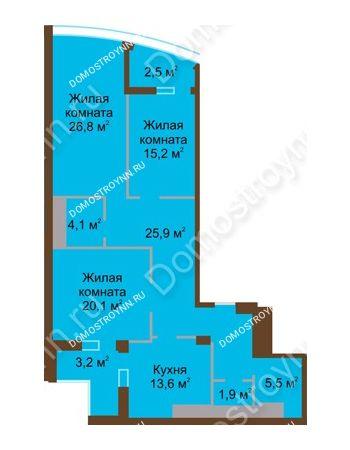 3 комнатная квартира 118,8 м² в ЖК Монолит, дом № 89, корп. 1, 2