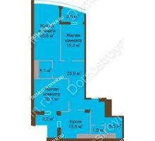 3 комнатная квартира 118,8 м² в ЖК Монолит, дом № 89, корп. 1, 2 - планировка