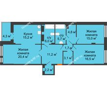 3 комнатная квартира 104,2 м² в Клубный дом Лобачевский, дом № 1 - планировка