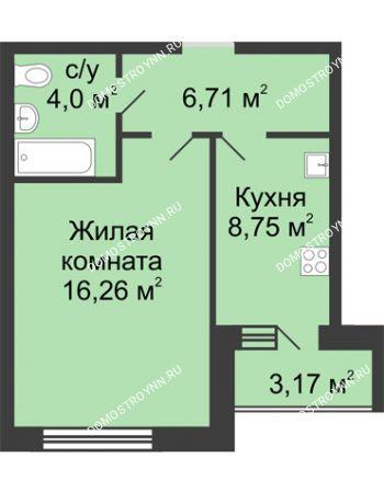 1 комнатная квартира 37,31 м² в ЖК Удачный, дом № 4