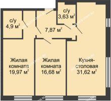 2 комнатная квартира 84,77 м² в ЖК TRINITY (Тринити), дом № 1 - планировка