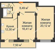 2 комнатная квартира 64,28 м² в ЖК Парковый, дом 6 позиция, блок-секция 3 - планировка
