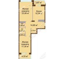 2 комнатная квартира 83,19 м² в ЖК Дворянский, дом № 1 - планировка