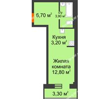 Студия 27,59 м² в Микрорайон Европейский, дом №9 блок-секции 1,2 - планировка
