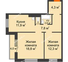 2 комнатная квартира 60,7 м² в ЖК Курчатова, дом № 10.1 - планировка