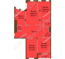 4 комнатная квартира 155,3 м², ЖК Бояр Палас - планировка