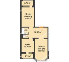 2 комнатная квартира 71,8 м², ЖК Приоритет - планировка