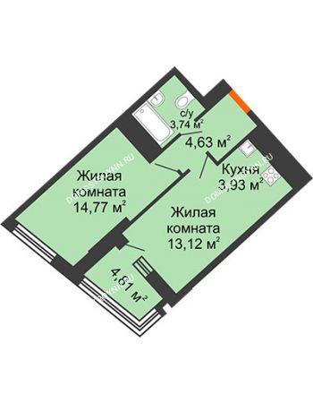 1 комнатная квартира 42,14 м² в ЖК Дом на Набережной, дом № 1